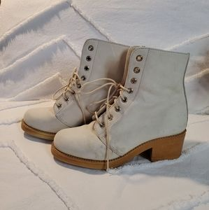 Roots Hi-Top Lace Up Leather Boots White Size 7.5